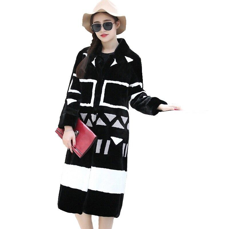 Nerazzurri Faux Manteau De Fourrure Femmes 2019 D'hiver Contraste Couleur Lâche Élégant Longue Moelleux Faux Manteau De Fourrure grande taille Furry Outwear