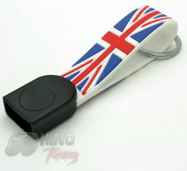 High Quality Silicone Car Key Chain Red Union Jack Car Key Ring for mini cooper F55 F56 Car Key Fob 213rd