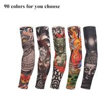 8pcs Punk Temporary Tattoo Sleeves Nylon 3D Elastic Tamporary Arm Stockings Tatoo For Men And Women
