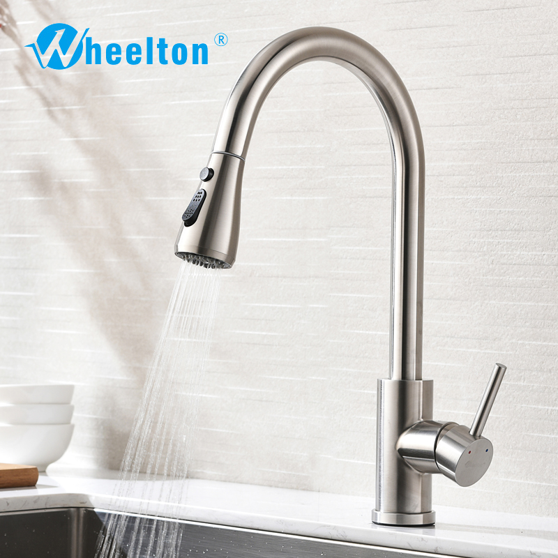 Wheelton Kitchen Faucet Sprayer Pull Out / Down Stainless Steel 360 Swivel Tap Single Handle Goods For Kitchen Mixer Freeship newly arrived pull out kitchen faucet gold sink mixer tap 360 degree rotation torneira cozinha mixer taps kitchen tap