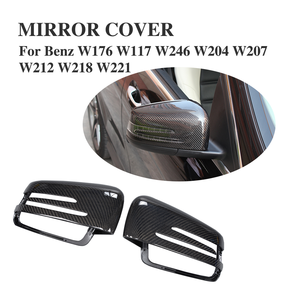 1Pair Carbon Fiber Replacement type Door Rearview Mirror Cover Caps For Benz W176 W117 W246 W204 W207 W212 W218 W221 2x white canbus led door courtesy footwell vanity mirror trunk lights for mercedes w204 w212 w207 w221 w216 r230 w251 w164 w463