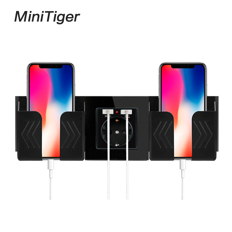 Minitiger Black Grey Wall Socket Phone Holder Smartphone Accessories Stand Support For Mobile Phone One / Two Phone Holder