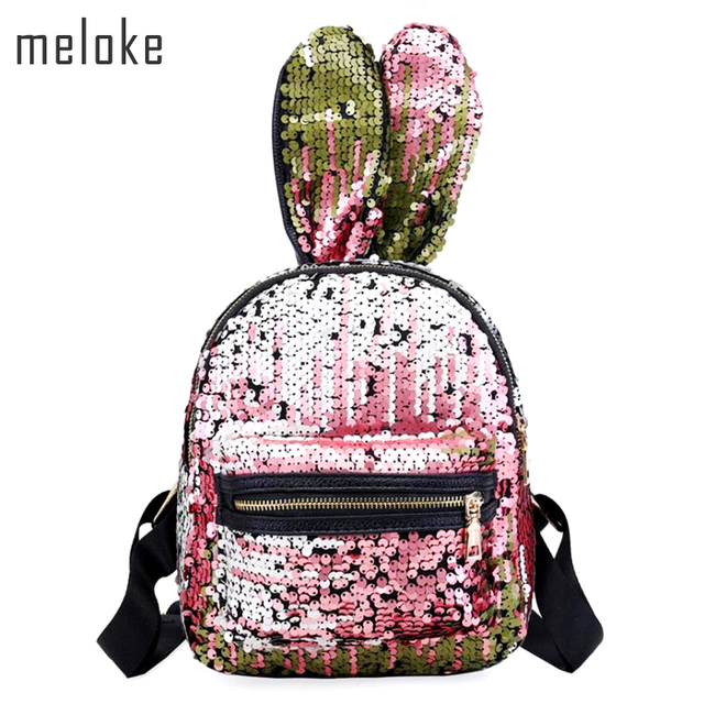 6e39cbf2342d US $16.75 5% OFF|Meloke 2019 Women Mini Backpack Bling Sequins Backpack  Cute Big Rabbit Ears Double Shoulder Bag Children Girls Travel Bag MN948-in  ...