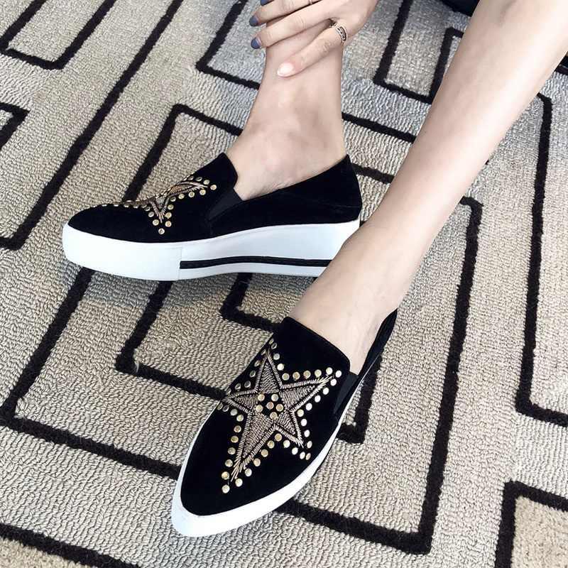 ZVQ/женская повседневная обувь на танкетке с острым носком, на среднем каблуке, новый стиль, на платформе, на танкетке, натуральная замша, черный цвет, мюли хорошего качества, Брендовая обувь