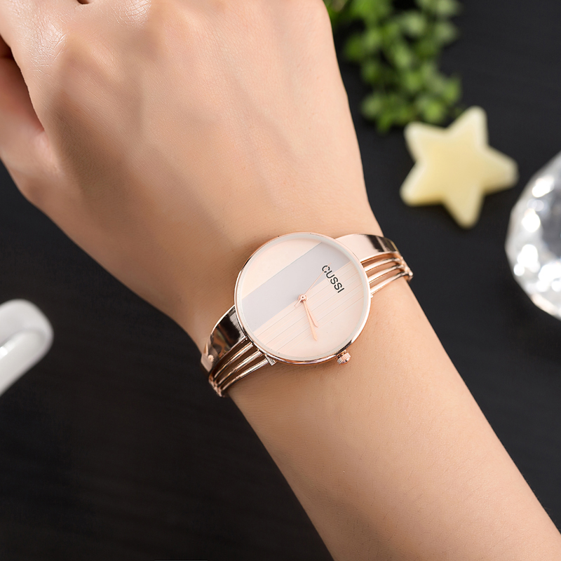 Cheap Sale Cussi Fashion Watches Women Gold Plated Steel Bracelet Ladies Dress Watches Gold/silver/rose Gold Quartz-watch Relogio Feminino Buy Now Watches