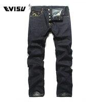 Evisu 2018 Для мужчин hipster джинсы Повседневное модные штаны на молнии Для мужчин карманов джинсы прямые длинные классический глубокий синие джи
