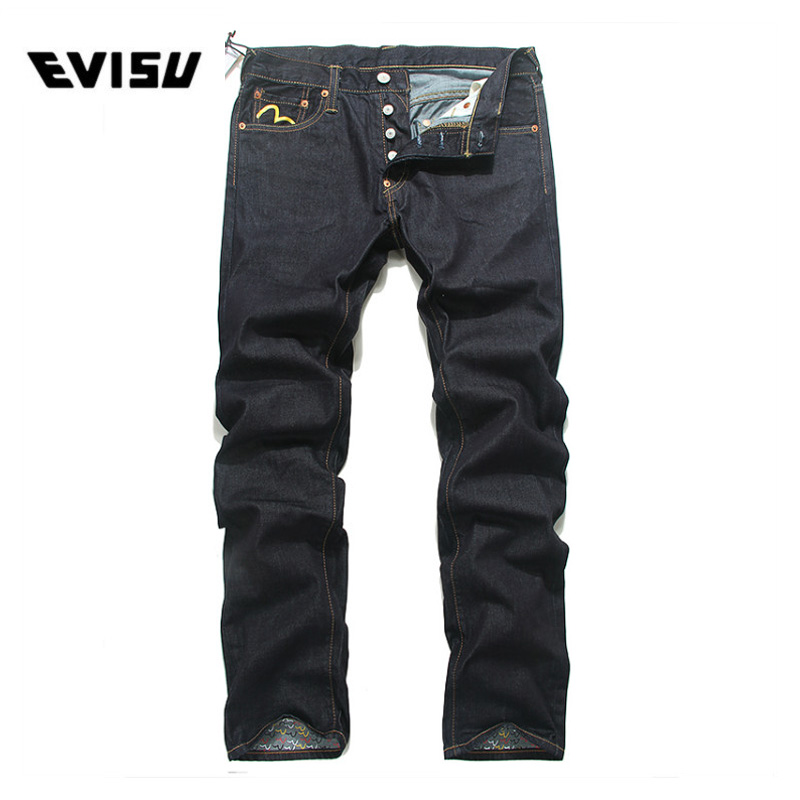 Evisu 2018 Men hipster jeans Casual Fashion Trousers Zipper Men Pockets Jeans Straight Long Classic Deep Blue Jeans For Men 6112