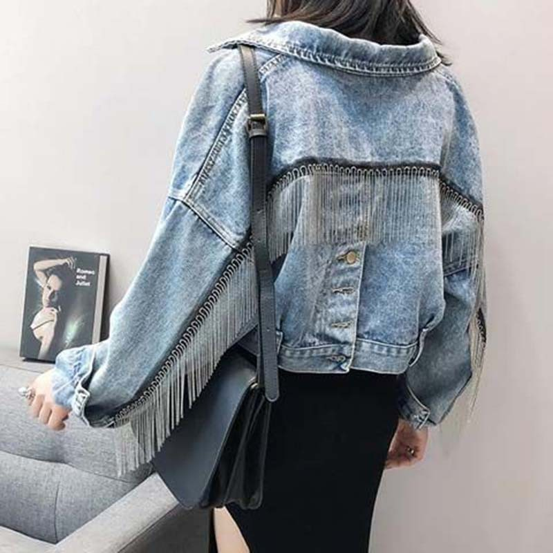 Jeans Jacket Coat Chaqueta Short Bat-Sleeve Tassels Streetwear Boyfriend Loose Za Female