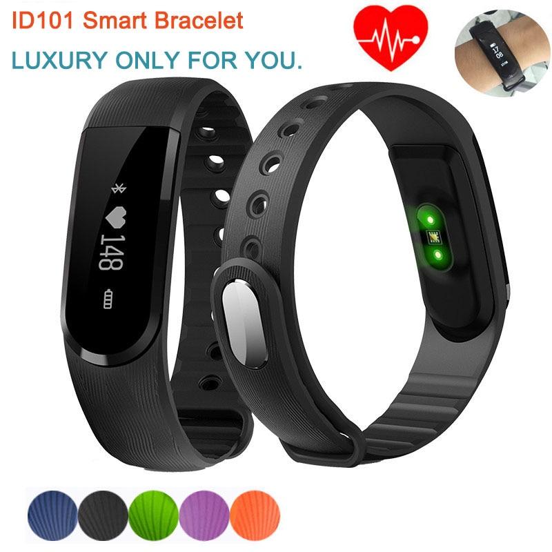 Luxury ID101 Smart Bracelet Bluetooth 4 0 Heart Rate Monitor Smartband Pulse Sports Smart Band Fitness