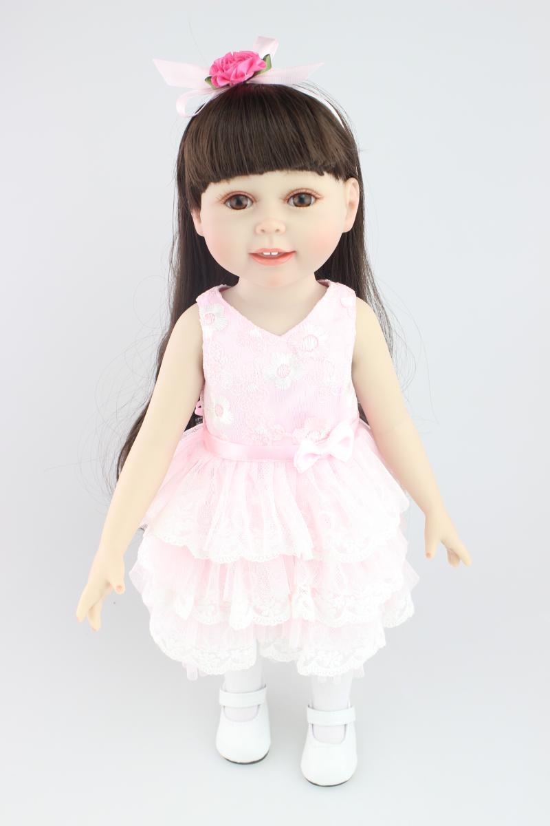 New 45cm Fashion American Girl Doll Silicone Baby Doll Princess Girl Lifelike Reborn Doll Infant Clothing Model кукла fashion royalty crazy girl misaki nippon fashion doll 2008