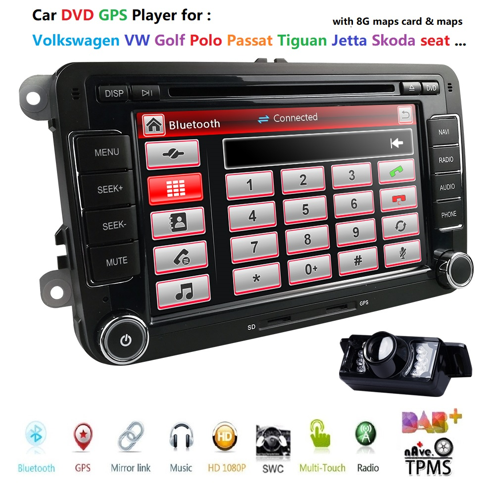 HD 7 Inch Double Din Car Stereo GPS DVD Navi for VW Golf Polo Passat Tiguan Jetta EOS+US Map+Camera Capacitive Screen DVB-T DAB+HD 7 Inch Double Din Car Stereo GPS DVD Navi for VW Golf Polo Passat Tiguan Jetta EOS+US Map+Camera Capacitive Screen DVB-T DAB+