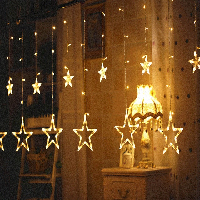 3M 25M Led Christmas Curtain Star Fairy Icicle AC Flash Light For Wedding Birthday Holiday Room Bedroom Xmas Party Decoration Lighting 220V 110V With