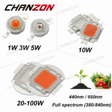 CHANZON High Power LED Chip Full Spectrum Grow Royal Blue 440nm Deep Red 660nm 1W 3W 5W 10W 20W 30W 50W 100W DIY Light for Plant