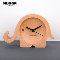 Multifunctional creative wood clock Children's wooden small clock Small elephant cartoon desktop clock bedside clock