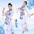 2016 Trajes de Baile Trajes Hmong Ropa Y Porcelana Clásica Danza Yangko Fan Traje Guzheng Flauta Nacional de Eficacia