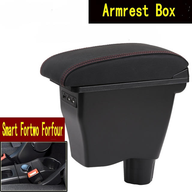 Per smart fortwo box bracciolo auto universale center console smart forfour caja modifica doppio sollevato con USB Senza montaggio Car parts shopping center Store