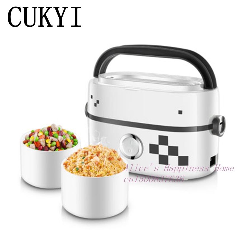 CUKYI Electric heating lunchbox enamel-lined mini lunch box electricity heating cooking insulated lunchbox hot mea 3d unicorn dessert coffee office pouch thermal insulated neoprene lunch bag women kids lunchbags cooler insulation lunch box