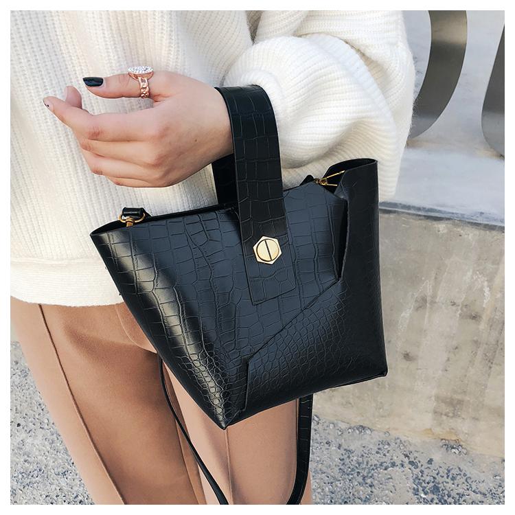 BLACK Vintage Tote Bucket bag PU Leather Handbag Alligator Pattern Shoulder Bag