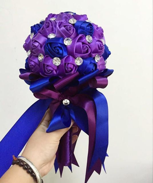 Blue Purple Rhinestone Mariage Artificial Bridesmaid Wedding Bouquets Ramo Novia Bridal Flower Accessoires