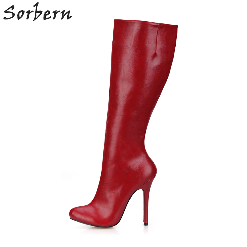 Fashion Sorbern Women PU And Patent Leather High Thin Heels Winter Boots Zapatos Mujer Sexy In Stock Ladies Party Boots fashion sorbern women boots high thin metal heels pointed toe zipper ladies party boots boots women zapatos mujer hot sale