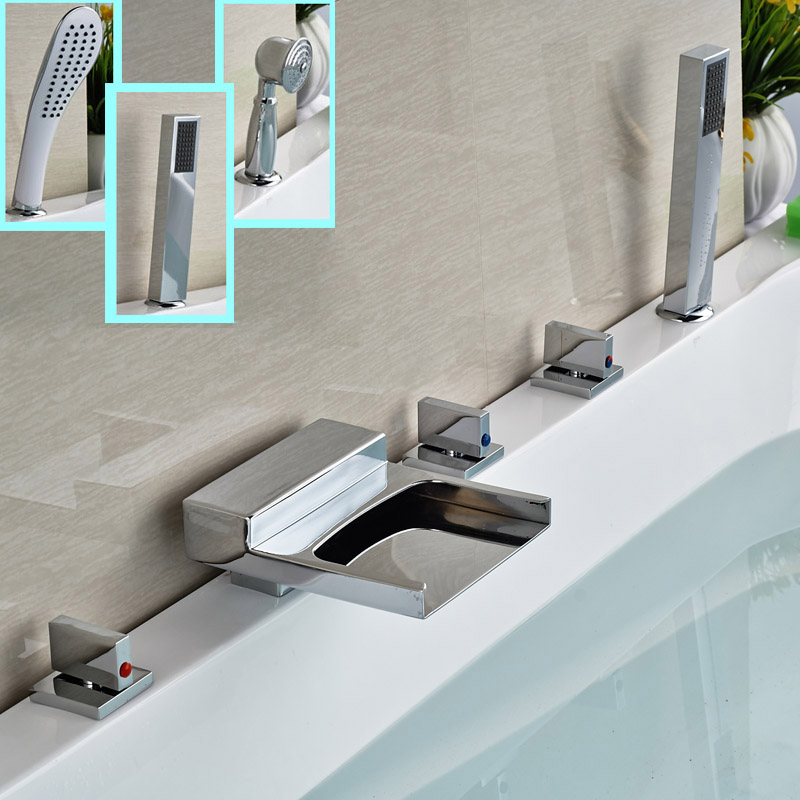 Modern Widespread 5 Holes Waterfall Bathtub Mixer Faucet Deck Mount Brass Tub Mixers with Handheld Shower deck mount chrome widespread 5 holes longer waterfall bathtub faucet with handheld bath shower tub filler