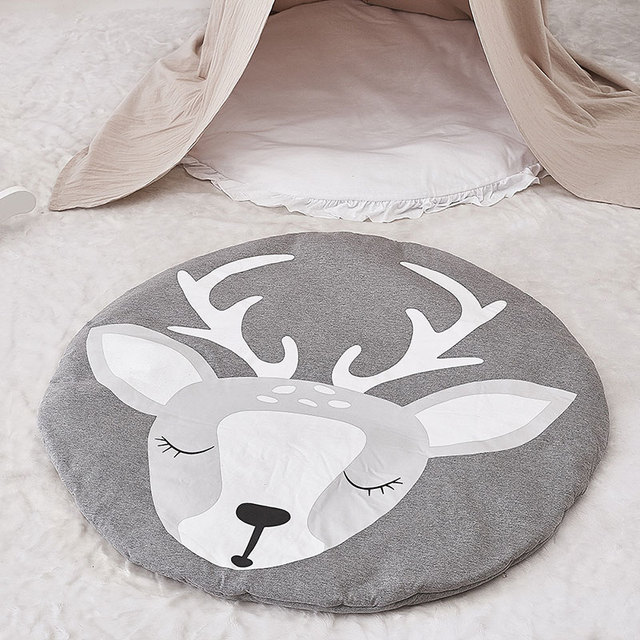 Actionclub 90cm Round Deer Baby Playmat Nursery Rug Crawling Mat Tee Floor Mats Soft Play Rugs