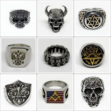 Stainless Steel Skeleton Man Ring Black Tibetan Silver Titanium Punk Biker Charm Jewelry Fashion