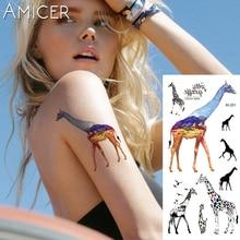 Фотография 1 piece Fantasy Color giraffe Hot Large animal Temporary Tattoo Waterproof Tattoo Sticker for women men