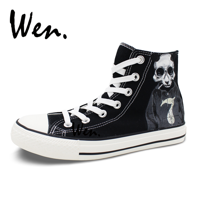 Wen Original Design Black Hand Painted Canvas Shoes Cool Panda Skull Smoke Sweater Numbers 7and 9 High Unisex Sneaker Skateboard