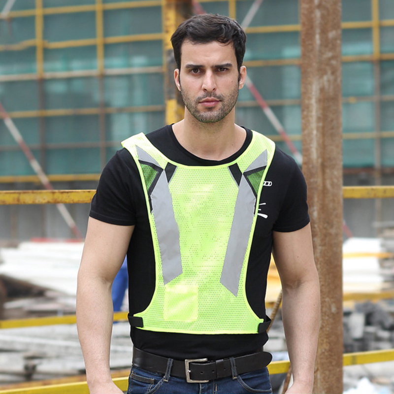 Fashion Night Fluorescent High Visibility Reflective Safety Vest Adjustable Workwear Cycling Vests Running Working Vest Men