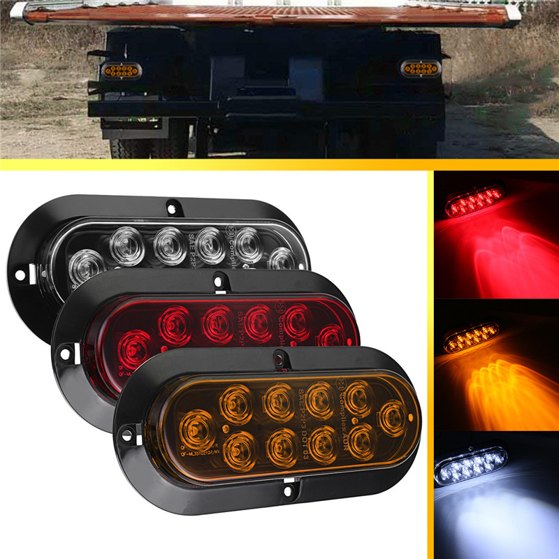 1Pair  White/Red/yellow 12V Led Warning Light Car Truck Backup Reverse Light Rear Tail Stop Light Trailer LED Turn Lamp