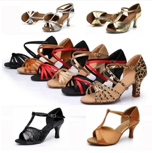 New Arrival Cheap Girls Women's Ballroom Tango Salsa Latin Dance Shoes 7cm Heel 22 Styles Women Latin Dance Shoes