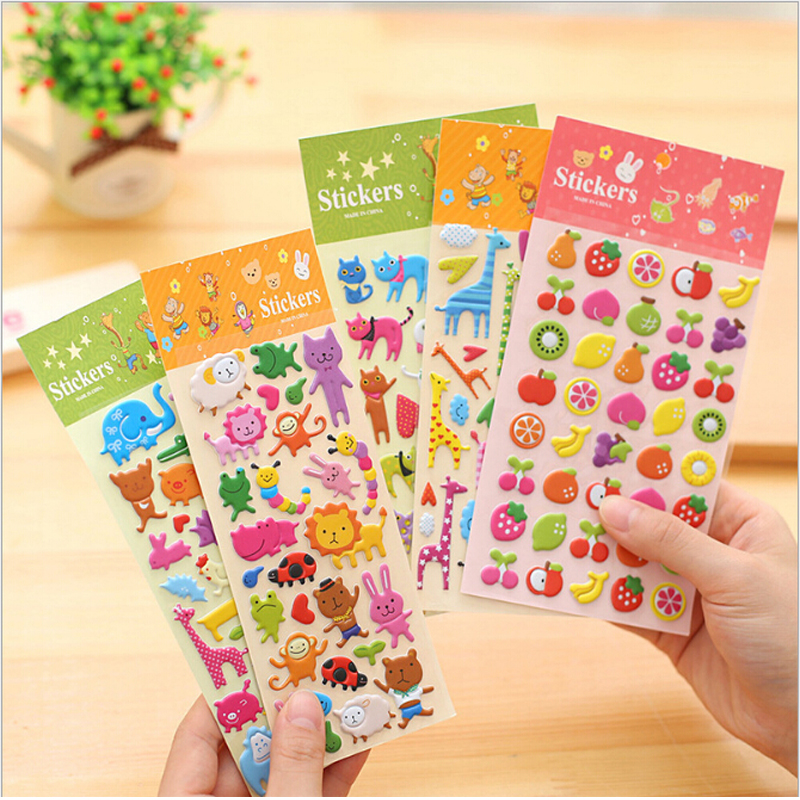 CCINEE 5PCS Bubble Sticker Toys Children Cartoon Animal Fruit  Stereo Stickers Toy Room Decoration(China)