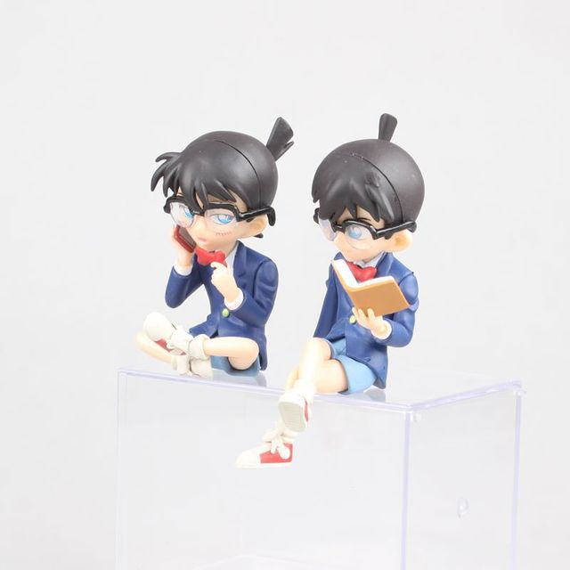 Figuras de acción de Kudou Shinichi, modelo de anime clásico japonés de 7,5 12,5 cm, carcasa de Detective Conan, libro cerrado/teléfono/figura de acción de pie ver