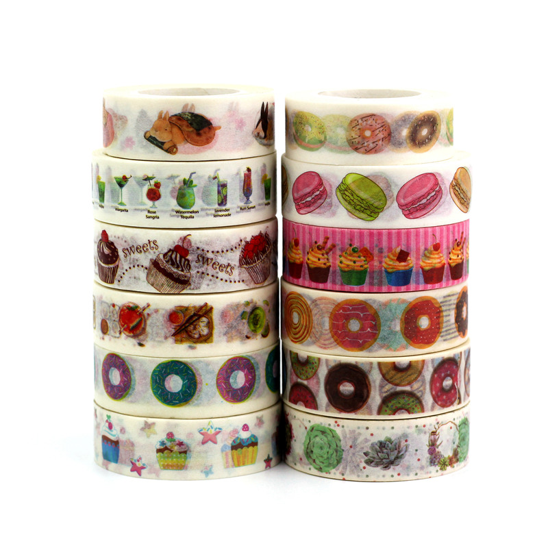 1.5cmx10M Food Washi Tape Set Planner Scrapbooking Cute Cinta Adhesiva Decorativa Cake Masking Tapes Japanese Office Stationery