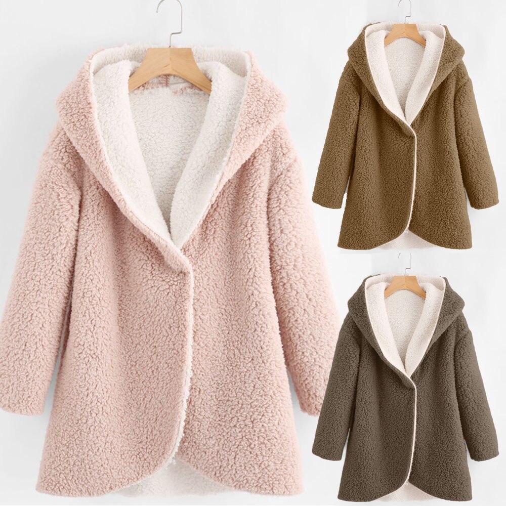 2b0d8cc5a US $12.77 48% OFF|Women Winter Curved Hem Longline Faux Fur Sherpa Fleece  Hoodie Coat Solid Women Coats Autumn Winter 0920-in Basic Jackets from ...