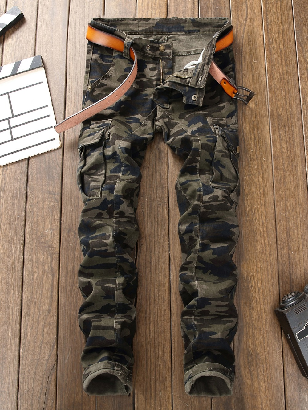 Men`s Camouflage Biker   Jeans   Slim Fit Military Style Camo Multi-Pockets Designer Motorcycle Cargo Zip Fly   Jeans   For Man