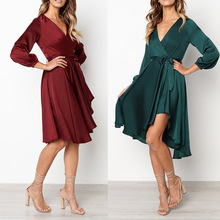 S-XL women autumn winter autumn winter dress v neck long sleeve sashes lady casual leisure club dress s xl women long sleeve turn down collar dress flroal print casual leisure dress autumn winter sashes loose brand dress