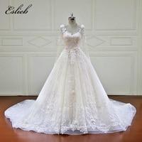 Eslieb 100 Real Photos Luxury Wedding Dresses Royal Train Lace Appliques Beading Flowers Wedding Dress 2018