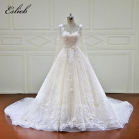 Eslieb 100 Real Photos Luxury Wedding Dresses Royal Train Lace Appliques Beading Flowers Wedding Dress 2018