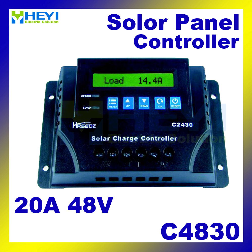 C4830-20 LCD Solar Charge and Discharge Controller 20A 48V solar controller pwm over discharge protection special offer solar charge controller 20a 12v24v lightning protection and anti charge over discharge
