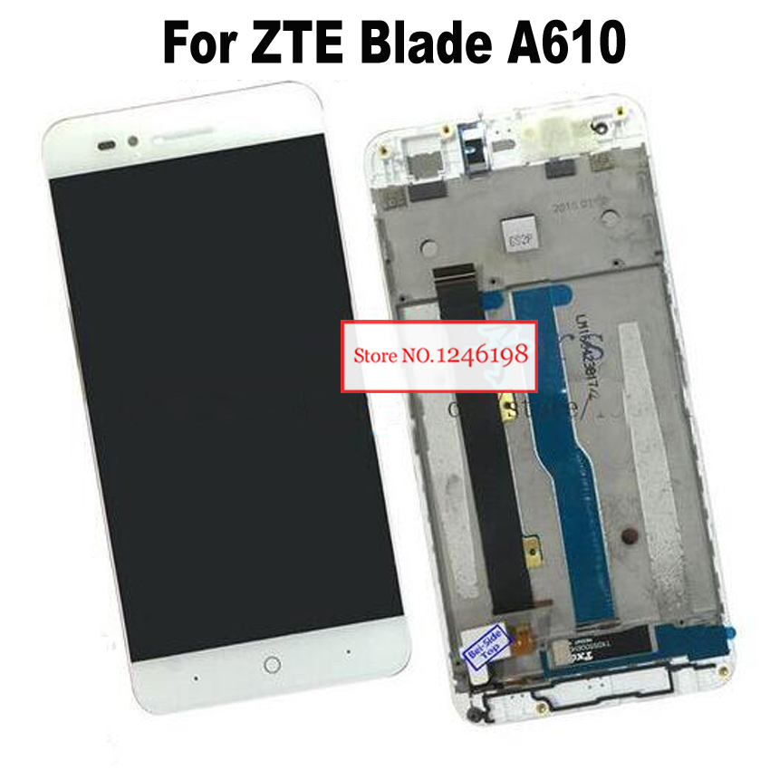 White 5 inch Full LCD Display Touch Screen Panel Digitizer Assembly with Frame For ZTE Voyage 4 Blade A610 Replacement parts солнцезащитные очки ray ban очки солнцезащитные wayfarer