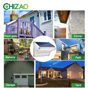 CHIZAO LED Solar Power Lamp PIR Motion Sensor Metal Solar Wall Light Outdoor Waterproof Garden Super Bright Energy Saving Lamp 6