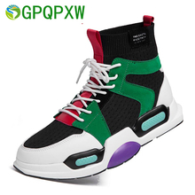 Sports Shoes Ladies Mens Upper Breathable Socks Boots Thick Heel Men And Women High-top Running