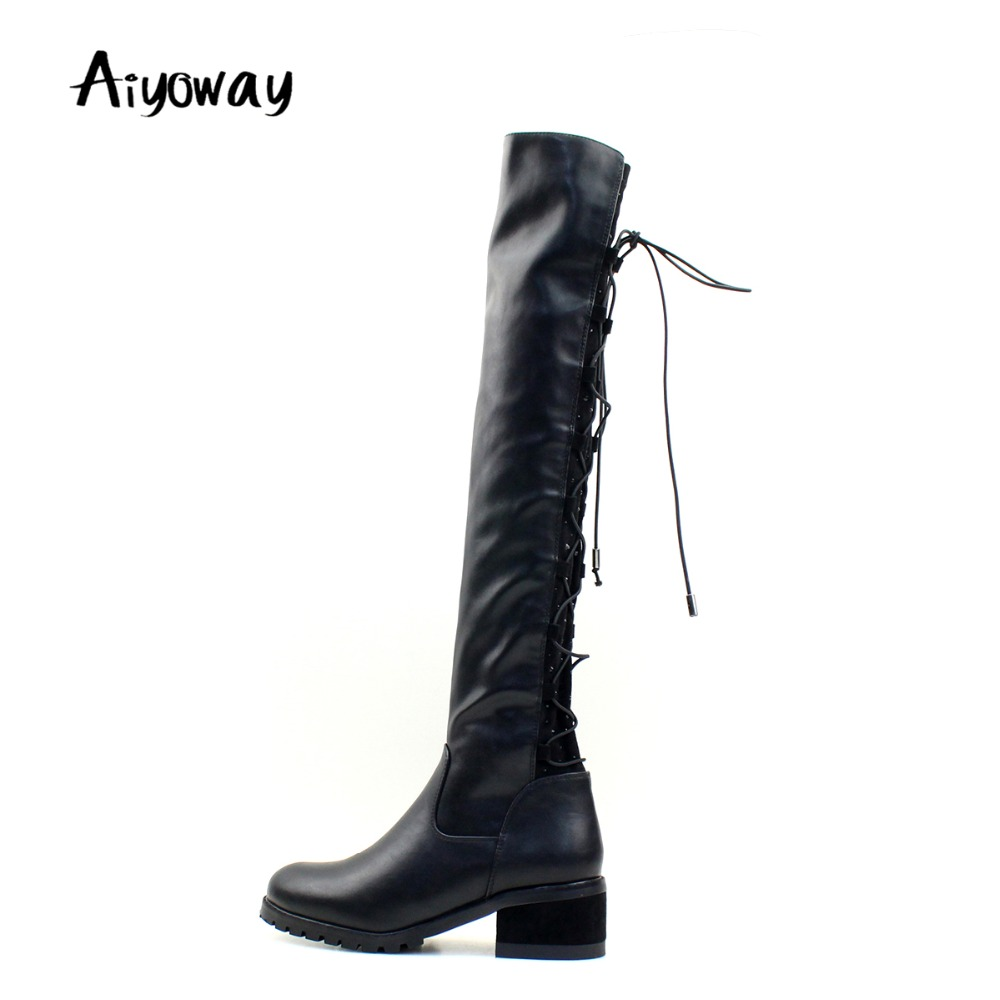 Aiyoway Women Ladies Girls Round Toe Low Heel Over the Knee Boots Winter Dress Shoes Back Lace Up Black  Russia Size 36 ~40Aiyoway Women Ladies Girls Round Toe Low Heel Over the Knee Boots Winter Dress Shoes Back Lace Up Black  Russia Size 36 ~40