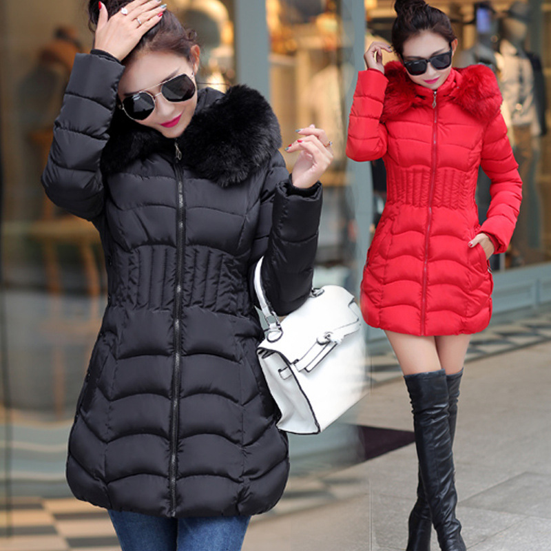 Winter Long Women Coats   Parkas   Slim Pleated Black Female Coat Outwear Fashion Disassembled Hooded Cotton Women Jackets MLD1271