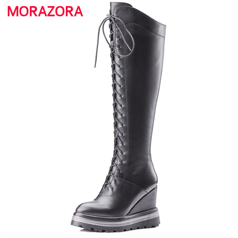MORAZORA 2018 new fashion super high heel women boots round toe wedges over the knee boots comfortable short plush zipper bootsMORAZORA 2018 new fashion super high heel women boots round toe wedges over the knee boots comfortable short plush zipper boots