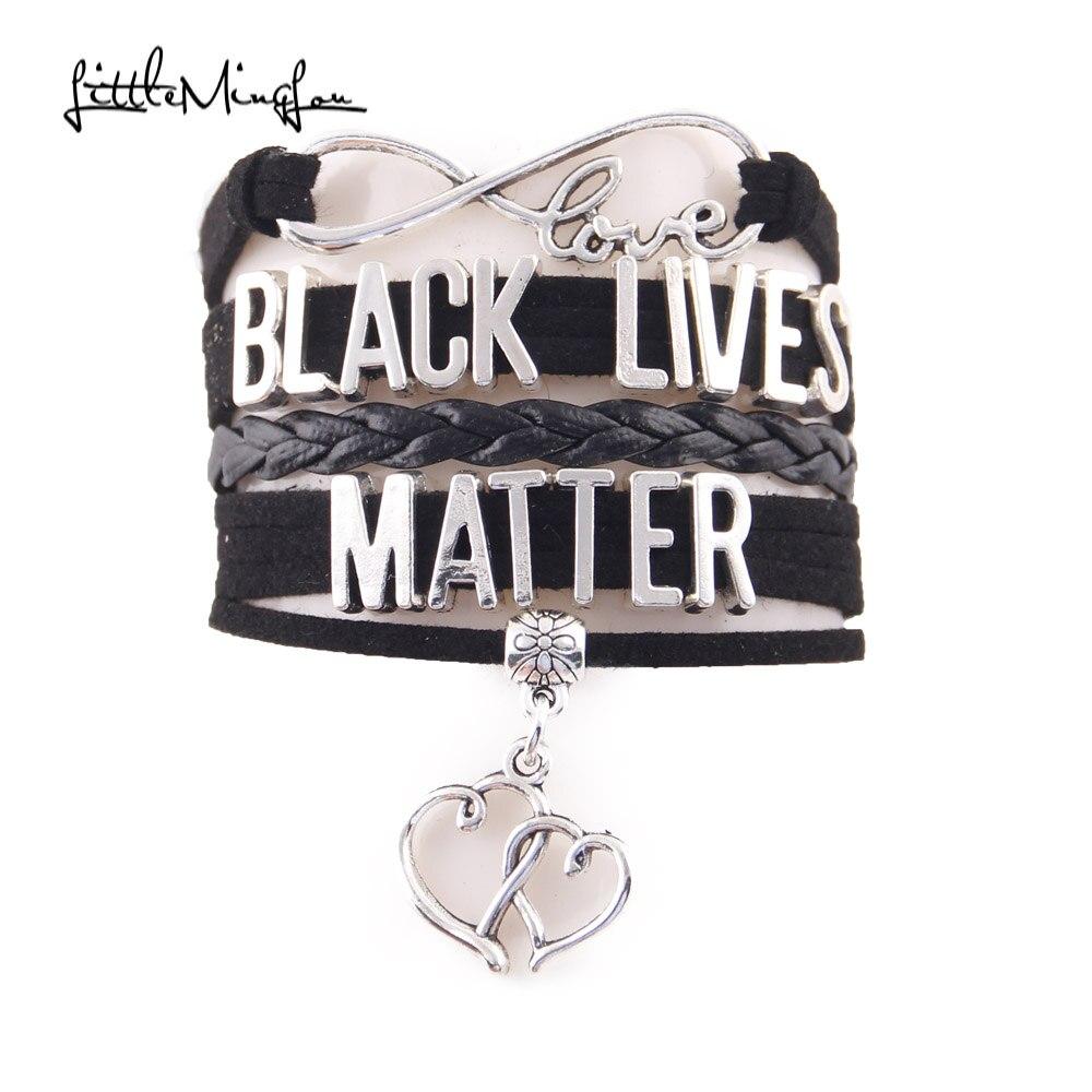 Little Minglou Infinity Love black lives matter bracelet heart charm Awareness leather men bracelets & bangles for women jewelry men bracelet leather men braceletbangles for women - AliExpress