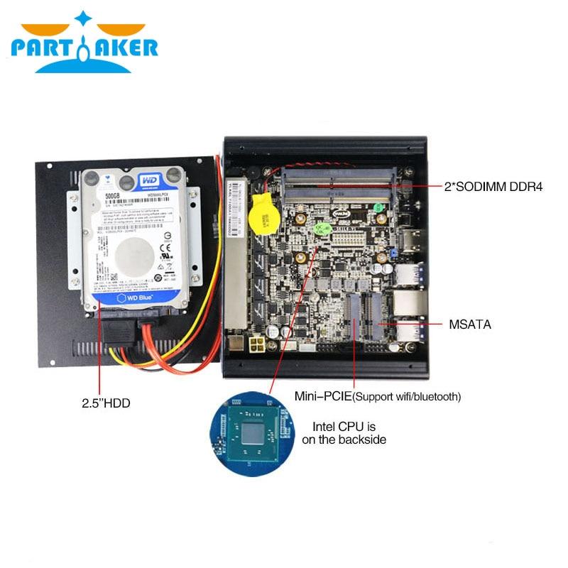 Partaker DDR4 Pfsense Mini PC 7th Gen Kaby Lake Intel i5 7200u 2.5GHz Dual Core Fanless Mini Server PC support AES-NI