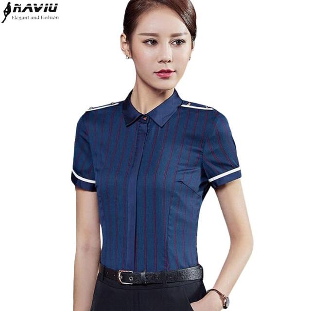 7063a58d144 Summer Fashion stripe women shirt OL Business formal slim short sleeve  chiffon blouse office ladies work wear plus size tops